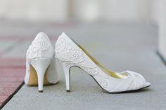 Wedding Shoes - Ivory Bridal Shoes, Ivory Wedding Heels with Ivory Lace. US Size 10 on Etsy, $99.00