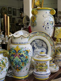The Umbrian hilltown of Deruta, Italy has been producing beautiful, brightly colored, hand painted ceramics since the Middle Ages.