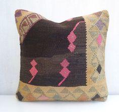Hand woven Wool Cushion Cover Kilim Pillow by PillowTalkOnEtsy, $54.00