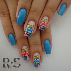 148 Floridas Decorated Nails - Unhas de Gel e Unhas Decoradas Spring Nail Art, Spring Nails, Summer Nails, Fabulous Nails, Gorgeous Nails, Pretty Nails, Flower Nail Designs, Cute Nail Designs, Rose Nails
