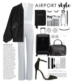 """""""airport style"""" by anabelisstyle ❤ liked on Polyvore featuring Galvan, Alexander Wang, Aspinal of London, Victorinox Swiss Army, Victoria Beckham, Essie, tarte, Estée Lauder, GHD and Christian Dior"""