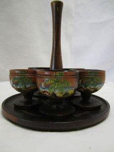 Vintage Souvenir Jamaican Wood Shot Glass Rum Set Jamaica Tropical Beach Tiki