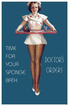 Time for your Sponge Bath Masterprint Pin Up Nurse, Nurse Stuff, Pin Up Girl Vintage, Vintage Art, Drawn Art, Sexy Nurse, Retro Lingerie, Funny Sexy, Frames For Canvas Paintings