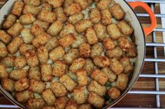 A simple recipe for a classic dish, tater tot casserole, that includes an easy DIY option to replace a can of cream of mushroom soup.