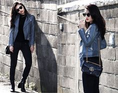 Get this look: http://lb.nu/look/8626563  More looks by YILING LU: http://lb.nu/tiflu  Items in this look:  All Saints Leather Jacket, Ray Ban Sunglasses   #leatherjacket #jacket #allsaints #gucci #streetstyle #chic #cool
