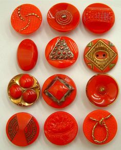 12 x 19mm Vintage Red Ornate Art Deco Glass Buttons