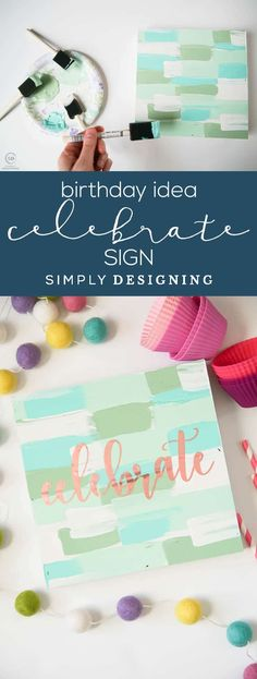 Birthday Idea - Handmade Sign - Celebrate Sign - cute sign made with vinyl paint and a wood shadowbox   #ad