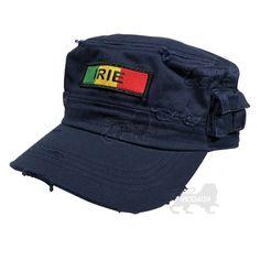 08970298cf33f Vintage Tear Rasta Military Army Cadet Cap Hat Lion Of Judah Sellassie  FITTED