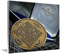 "Patek Philippe Geneve Commemorative Medal Coin $246 // Style: White Edge Canvas Print; Size: Grande 36"" x 48"" // Visit http://www.imagekind.com/Patek-Philippe-Geneve-PPG_art?IMID=bae1610e-bc86-4d74-b114-9f3600a883e3 for product details."