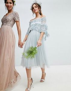 3a2c275af7 Maya embellished bardot layered midaxi dress in ice blue Color Pairing