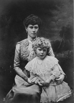 Queen Mary of England and her daughter, the Princess Royal