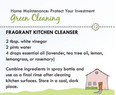 Green cleaner for your kitchen is made from vinegar and water with a drop of essential oil. Easy and inexpensive.
