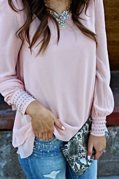 Forever 21 Vintage Rose Studded Blouse by Sophistifunk