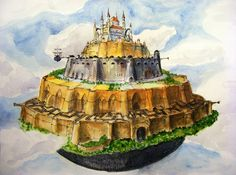 Painting from Laputa: Castle in the Sky concept art. With aquarel and pen. I decided to draw some buildings from movies! This one is also from Hayao Miyazaki's wonderful movie: Tenku no shiro Rapyu...