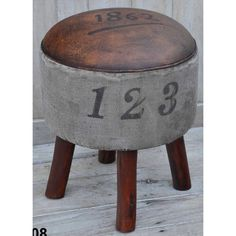 VINTAGE 1862 ROUND TRIPOD STOOL  Beautiful, solid and sustainable; mango hardwood timber is becoming exceedingly popular in the homewares field. The Vintage 1862 Round Tripod Stool made from mango timber, distressed leather and old Indian army tents.