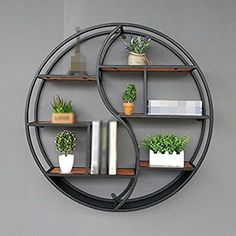 Best Seller Lil Round Wall-Mounted Shelves Wall Mount Retro Four-Tier Iron Shelf Floating Unit Frame Wall Decorative Shelves (Color : Black, Size : on-line - Topofferideas - Decoration Tips Wall Bookshelves, Wall Mounted Shelves, Metal Storage Shelves, Wall Shelf Decor, Solid Wood Shelves, Iron Shelf, Iron Furniture, Furniture Nyc