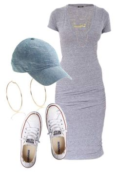 Gray Bodycon Dress for School With Sneakers, Cap And Loop Earrings #Springoutfits #Outfits #Springoutfitideas #Outfitideas #Springfashion