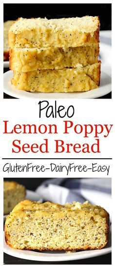 Paleo Lemon Poppy Seed Bread- easy, healthy, and so delicious! A gluten free, da… Paleo Lemon Poppy Seed Bread- easy, Paleo Baking, Gluten Free Baking, Gluten Free Desserts, Dairy Free Recipes, Whole Food Recipes, Paleo Bread, Bread Food, Paleo Snack Recipes, Bread Diet
