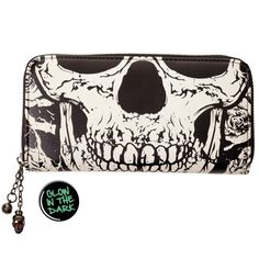 Banned Apparel Gothic Death Skull Face Glow in the Dark Zip Around Wallet Crane, Emo, Wallets For Girls, Perfect Dark, Tattoo Clothing, Branded Wallets, Punk Goth, Punk Rave, Skull Face