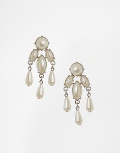ASOS Faux Pearl Mini Chandelier Earrings
