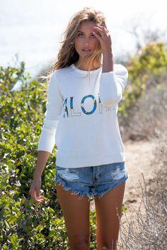 For Love & Lemons: Aloha sweater in white   Soleil Blue