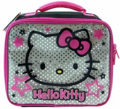 Hello Kitty Black Silver Lunch Bag is perfect for school or play. Keeps  food cool a44d6a4202