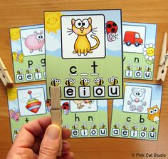 CVC Clip Cards - Your students will have a blast practicing medial vowel sounds with CVC words using these fun & engaging clip cards. This product includes 130 clip cards that are perfect for a fun ELA center activity.