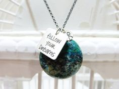 Follow your dreams - Sterling silver necklace - Positivity message. €62,00, via Etsy.