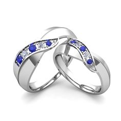 Matching Wedding Band in 14k Gold Brilliant Diamond and Sapphire
