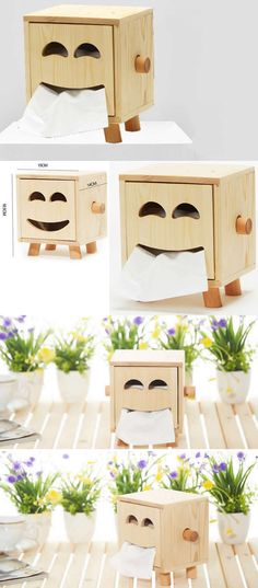 Wooden Smiley Smiling Face Tissue Box Paper Towel Box Toilet Paper Towel Box Storage
