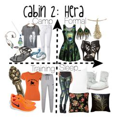 """""""Cabin 2: Hera"""" by aquatic-angel ❤ liked on Polyvore featuring Lalique, Michael Antonio, Frame Denim, Uzura, BCBGeneration, Lord & Taylor, NIKE, ATM by Anthony Thomas Melillo, UGG Australia and Pillow Decor"""