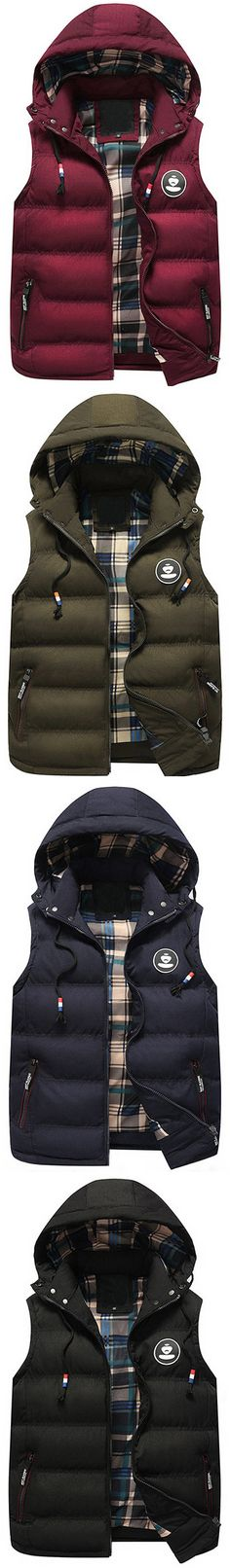 US$36.63 Casual Hooded Thicken Winter Fall Cotton Coat Vest for Men#vest #style #love