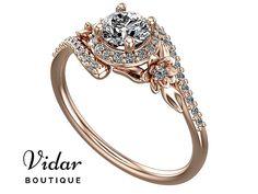 Moissanite Engagement Ring,Unique Flower Engagement Ring,Flower Engagement Ring,Rose Gold Ring,Vintage Ring,Leaves Engagement Ring,Fine Ring