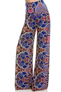 - Unique Printed Palazzo Pants - Banded High Waist or Fold Over - Fabric: 92% Polyester, 8% Spandex - Hemline made to cut to adjust pant length Waist Inseam Small 24-26 34 Medium 26-28 34 Large 28-30