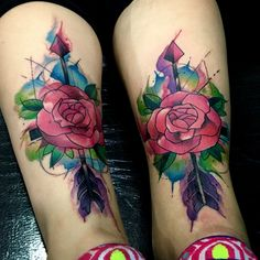 Roses watercolor tattoo  By Juan david Castro R