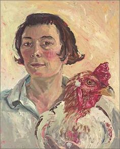 Lucy Culliton: Self with subject (cock) :: Archibald Prize 2003 :: Art Gallery NSW