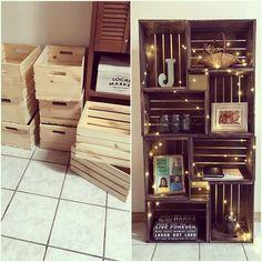 DIY Crate Bookshelf is part of Bookshelves diy - How to Make and Decorate! Cute Dorm Rooms, Cool Rooms, Crate Bookshelf, Bookshelf Ideas, Wood Crate Shelves, Organizing Bookshelves, Bookshelf Closet, Bookcase Plans, Bookshelf Design