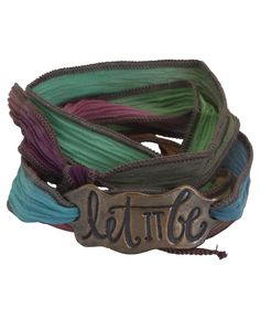 "Inspirational silk wrap bracelet with ""Let It Be"" charm made of reclaimed bronze. Inspirational jewelry available at BuddhaGroove.com."