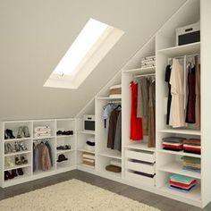 Small loft bedroom storage attic closet Ideas for 2019 Small Attic Bathroom, Attic Master Bedroom, Attic Rooms, Closet Bedroom, Bathroom Closet, Bedroom Ceiling, Master Bathrooms, Small Loft Bedroom, Skylight Bedroom