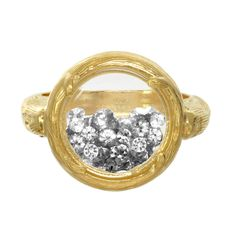 gold branch crystal shaker ring