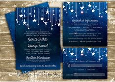 This invitation suite includes: a 5x7 double-sided invitation as shown in the listing printed on 100lb cardstock and white outer envelope. Our signature Fairydust has been added to the stars to make them shimmer gently in the light. Fairydust is a hand-painted glitter technique that