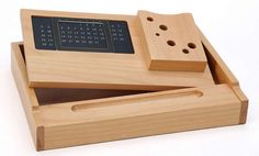 Wooden Multi-function Desk Stationery Organizer Storage Box With Perpetual Calendar