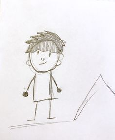 Student's drawing of a stick figure self portrait.