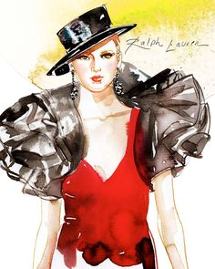 Watercolor of Ralph Lauren's Spring 2013 Collection, by Samantha Hahn #NYFW