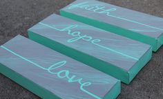 This faith, hope, and love canvas set is sure to add to your home! With calm but happy colors, these three important words might just inspire you more