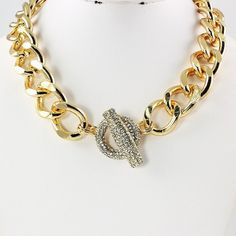 Rhinestone encrusted toggle necklace (Gold) #Statement