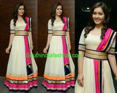 White and pink georgette Anrakali