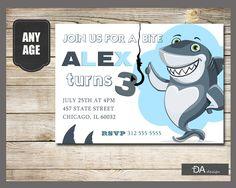 Shark Birthday Invitation, Shark Invite, Fin-tastic Shark Birthday, Ocean Theme Birthday, Under The Sea, Pool Party, DIGITAL FILE by TDADesign on Etsy