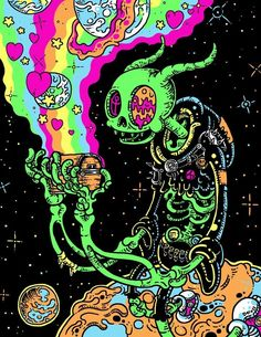 We Want to Live in Gloombones' Grungy Neon Universe is part of Trippy art psychedelic - These gloriously detailed, gleefully gross cartoons are a joy to behold Trippy Drawings, Psychedelic Drawings, Art Drawings, Hippie Painting, Trippy Painting, Hippie Wallpaper, Trippy Wallpaper, Acid Wallpaper, Arte Dope