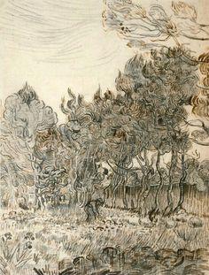 Vincent van Gogh - V.van Gogh, Garden of St Paul s Hospital Vincent Van Gogh, Van Gogh Drawings, Van Gogh Paintings, Tree Paintings, Van Gogh Art, Art Van, Desenhos Van Gogh, Van Gogh Pinturas, Van Gogh Landscapes